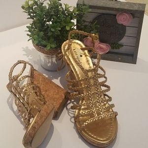 Kate Spade Gold Strappy Cork Wedge Sandal EUC